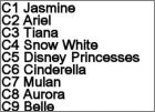 Liste Cartes  Princess