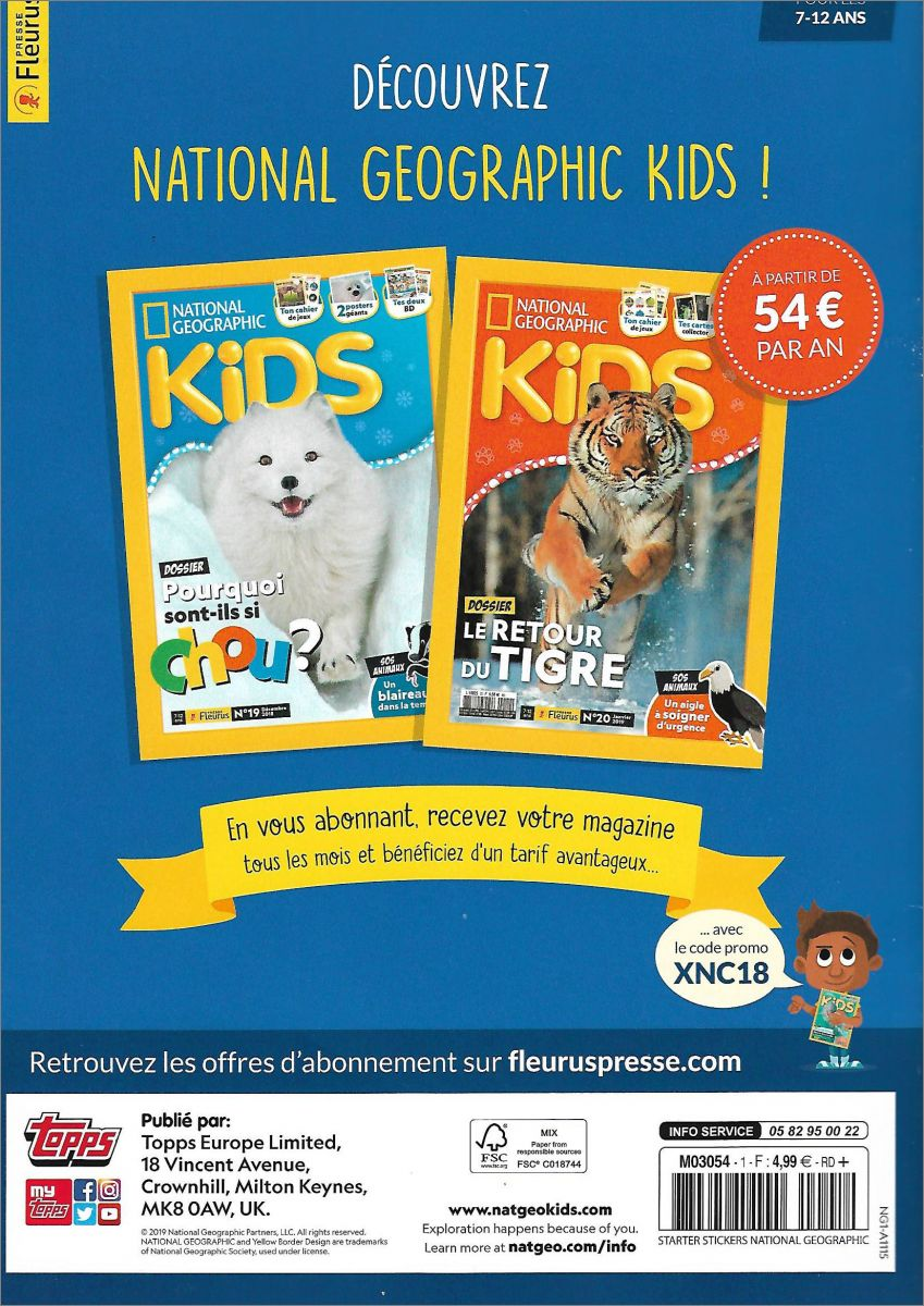 100 Stickers Topps 1 Album Version Francaise National Geographic Animaux